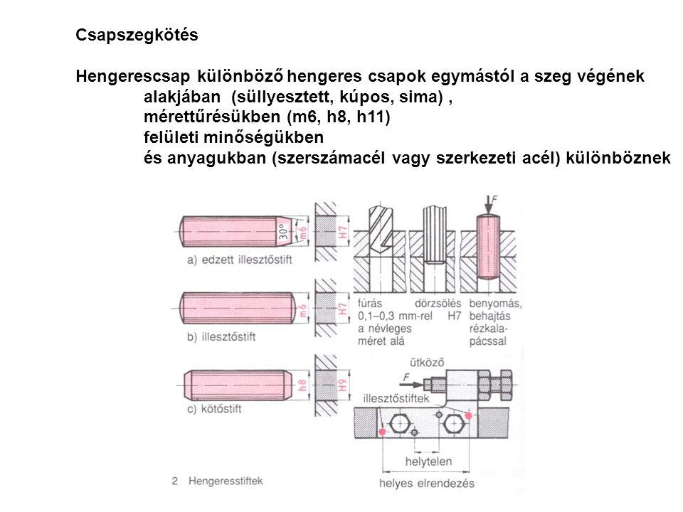 Csapszegkötés Hengerescsap különböző hengeres csapok egymástól a szeg végének alakjában (süllyesztett, kúpos, sima), mérettűrésükben (m6, h8, h11) fel