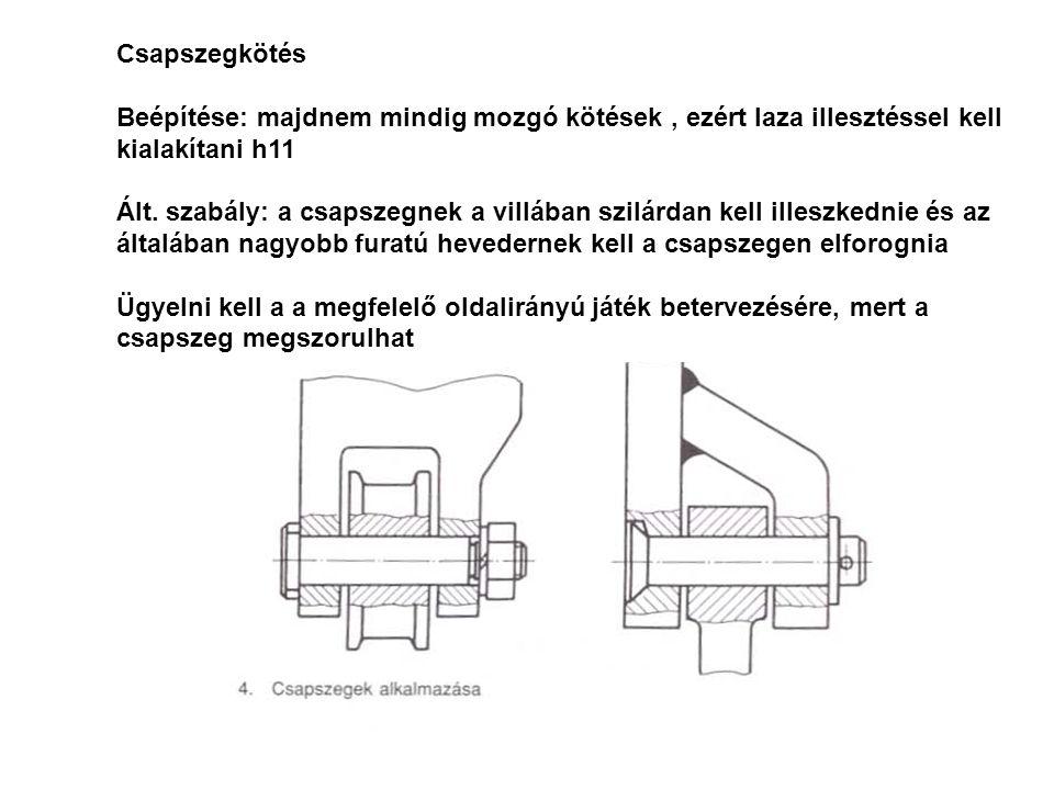 Csapszegkötés Beépítése: majdnem mindig mozgó kötések, ezért laza illesztéssel kell kialakítani h11 Ált. szabály: a csapszegnek a villában szilárdan k