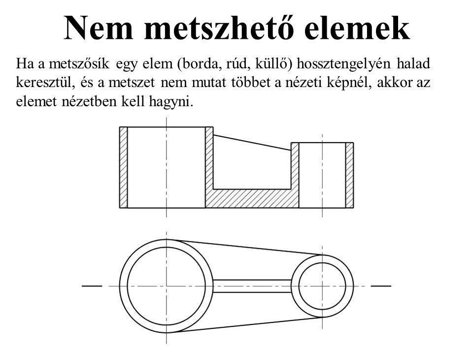 Nem metszhető elemek Ha a metszősík egy elem (borda, rúd, küllő) hossztengelyén halad keresztül, és a metszet nem mutat többet a nézeti képnél, akkor az elemet nézetben kell hagyni.