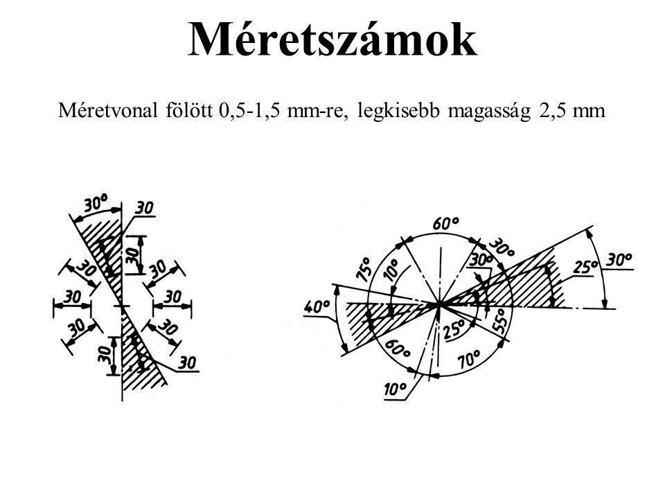 Méretszámok Méretvonal fölött 0,5-1,5 mm-re, legkisebb magasság 2,5 mm