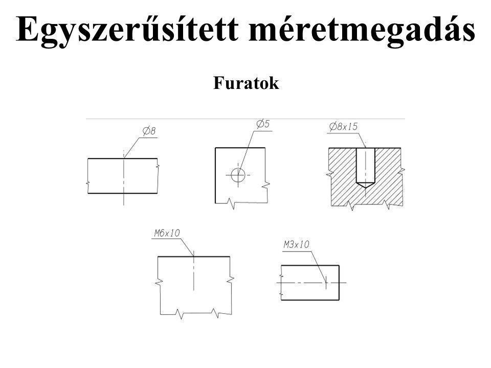 Egyszerűsített méretmegadás Furatok