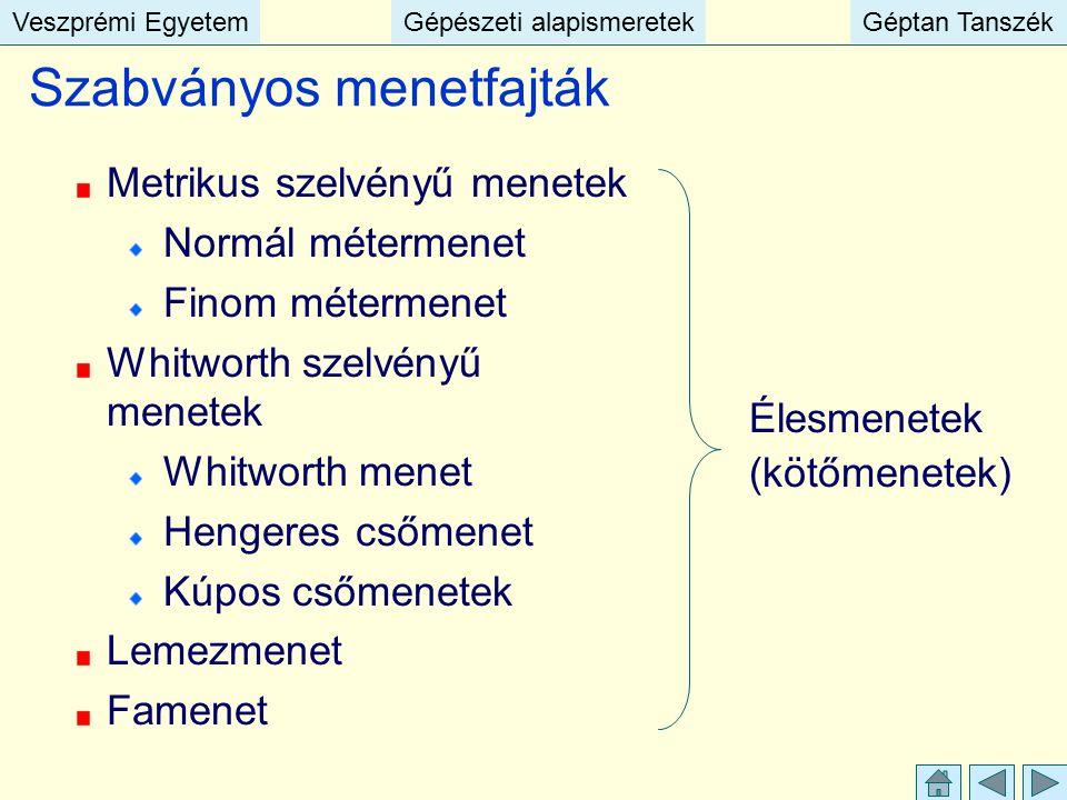 Veszprémi EgyetemGépészeti alapismeretekGéptan TanszékVeszprémi EgyetemGépészeti alapismeretekGéptan Tanszék Szabványos menetfajták Metrikus szelvényű