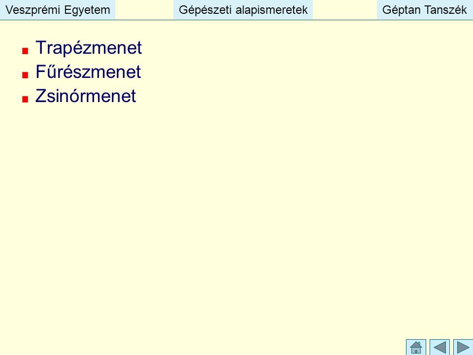 Veszprémi EgyetemGépészeti alapismeretekGéptan TanszékVeszprémi EgyetemGépészeti alapismeretekGéptan Tanszék Trapézmenet Fűrészmenet Zsinórmenet