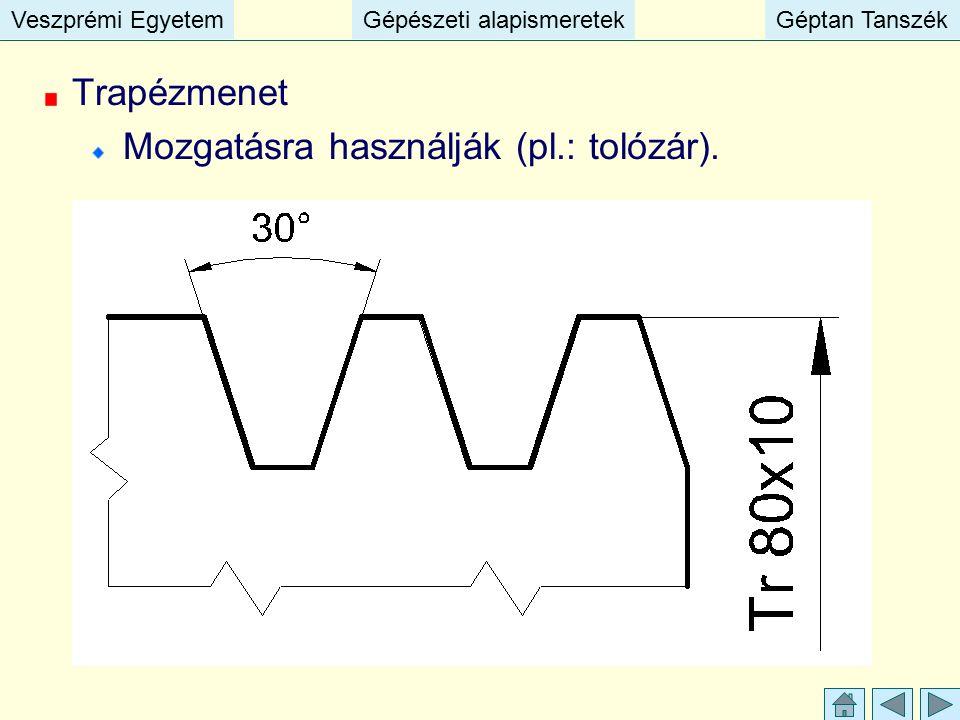 Veszprémi EgyetemGépészeti alapismeretekGéptan TanszékVeszprémi EgyetemGépészeti alapismeretekGéptan Tanszék Trapézmenet Mozgatásra használják (pl.: t