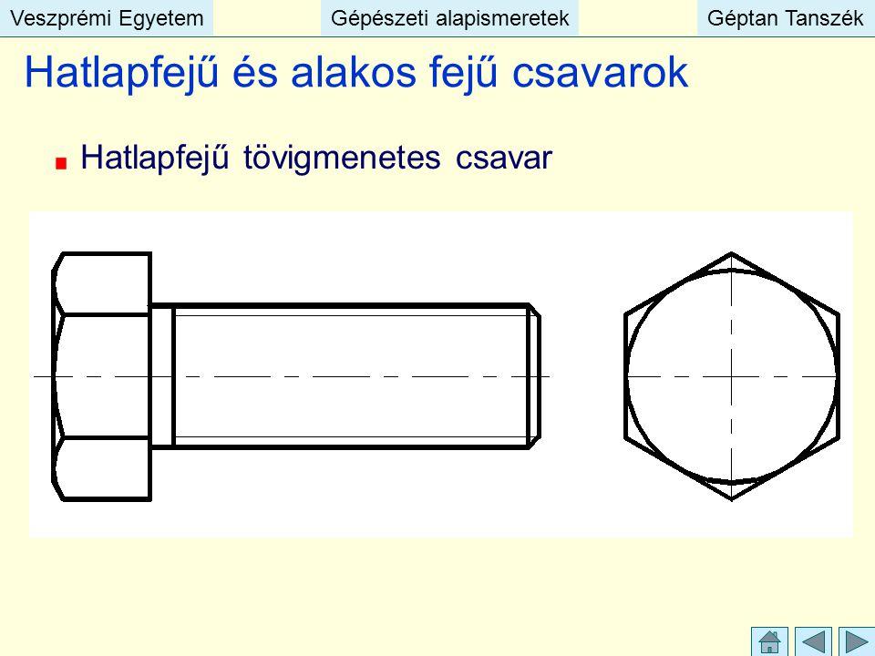 Veszprémi EgyetemGépészeti alapismeretekGéptan TanszékVeszprémi EgyetemGépészeti alapismeretekGéptan Tanszék Hatlapfejű és alakos fejű csavarok Hatlap