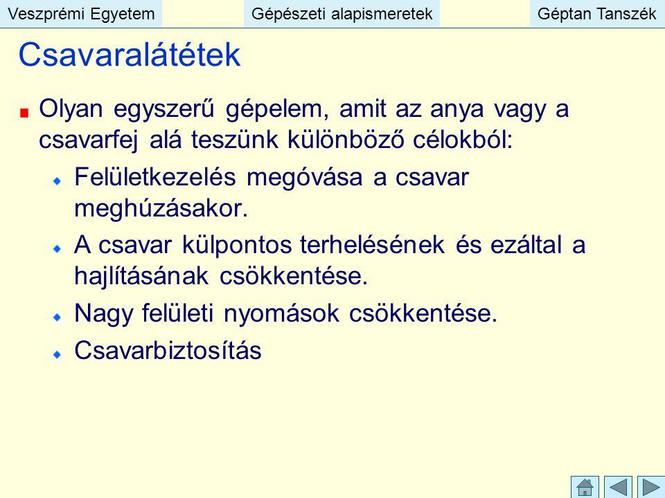 Veszprémi EgyetemGépészeti alapismeretekGéptan TanszékVeszprémi EgyetemGépészeti alapismeretekGéptan Tanszék Csavaralátétek Olyan egyszerű gépelem, am