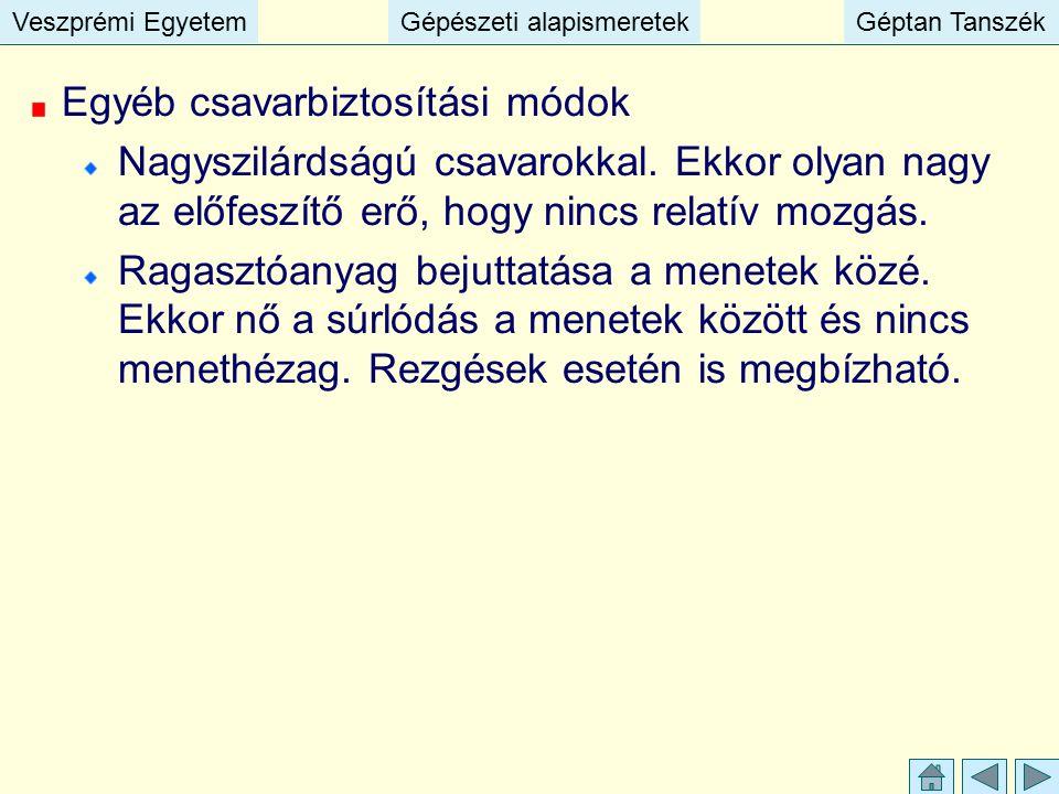 Veszprémi EgyetemGépészeti alapismeretekGéptan TanszékVeszprémi EgyetemGépészeti alapismeretekGéptan Tanszék Egyéb csavarbiztosítási módok Nagyszilárd