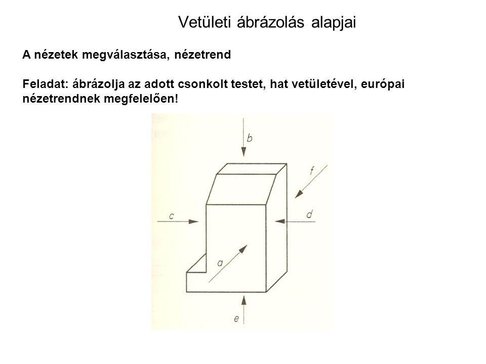 Vetületi ábrázolás alapjai A nézetek megválasztása, nézetrend Feladat: ábrázolja az adott csonkolt testet, hat vetületével, európai nézetrendnek megfelelően!