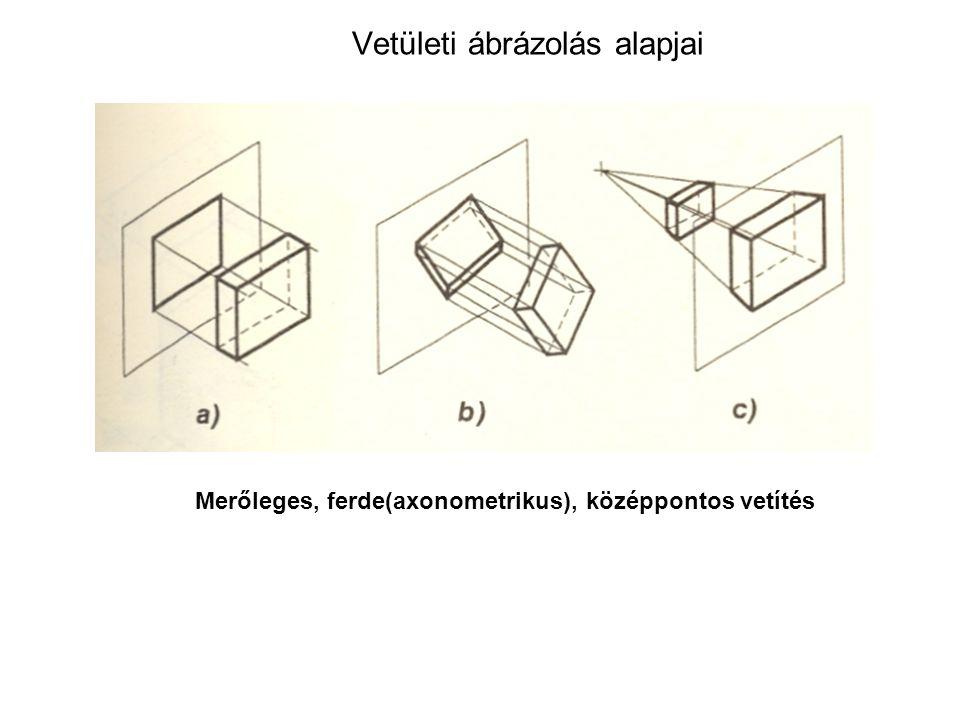 Vetületi ábrázolás alapjai A merőleges vetítés olyan módszer, amelyben a képsíkra merőleges és így egymással párhuzamos vetítővonalakkal történik a tárgy leképezése.