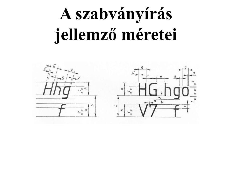 A szabványírás jellemző méretei