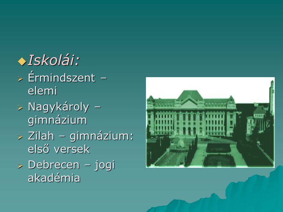  Iskolái:  Érmindszent – elemi  Nagykároly – gimnázium  Zilah – gimnázium: első versek  Debrecen – jogi akadémia