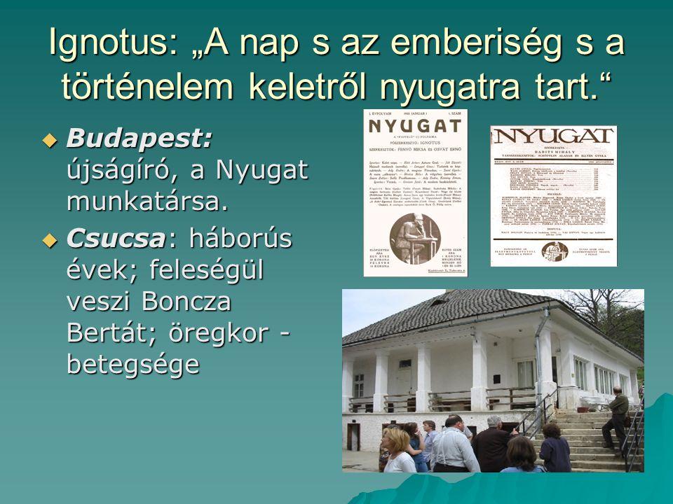 """Ignotus: """"A nap s az emberiség s a történelem keletről nyugatra tart.""""  Budapest: újságíró, a Nyugat munkatársa.  Csucsa: háborús évek; feleségül ve"""