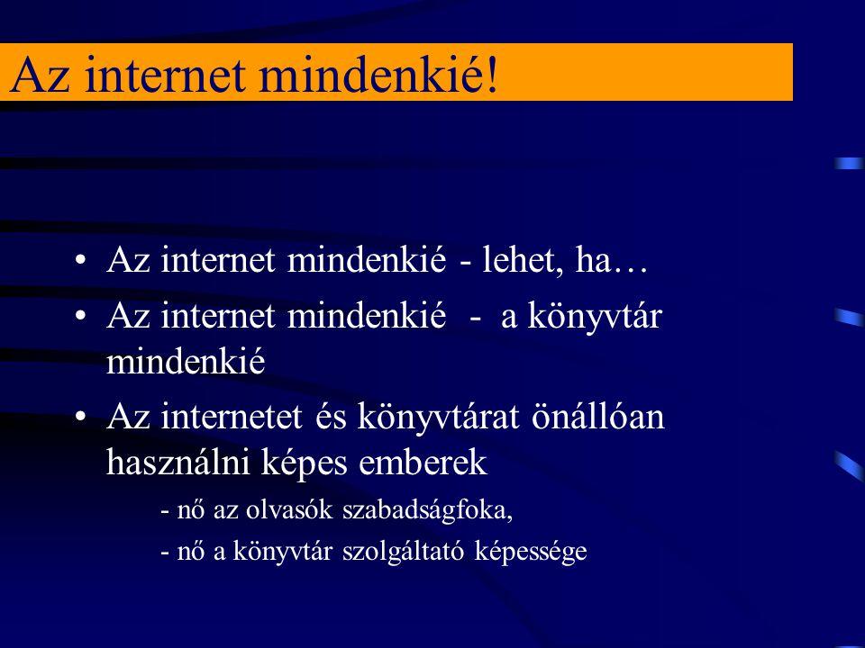 Az internet mindenkié! Az internet mindenkié - lehet, ha… Az internet mindenkié - a könyvtár mindenkié Az internetet és könyvtárat önállóan használni