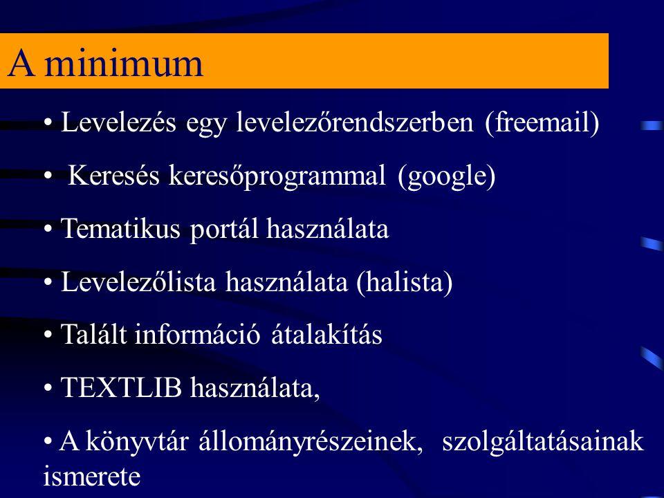 A minimum Levelezés egy levelezőrendszerben (freemail) Keresés keresőprogrammal (google) Tematikus portál használata Levelezőlista használata (halista) Talált információ átalakítás TEXTLIB használata, A könyvtár állományrészeinek, szolgáltatásainak ismerete