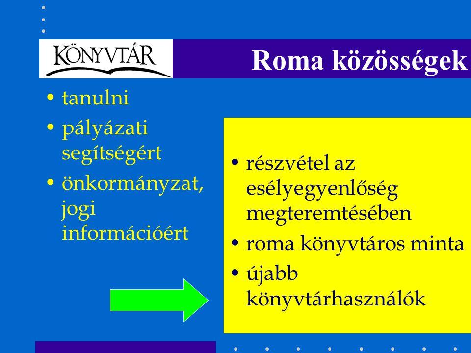 Roma közösségek tanulni pályázati segítségért önkormányzat, jogi információért részvétel az esélyegyenlőség megteremtésében roma könyvtáros minta újabb könyvtárhasználók