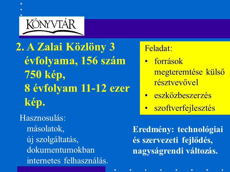 2. A Zalai Közlöny 3 évfolyama, 156 szám 750 kép, 8 évfolyam 11-12 ezer kép.