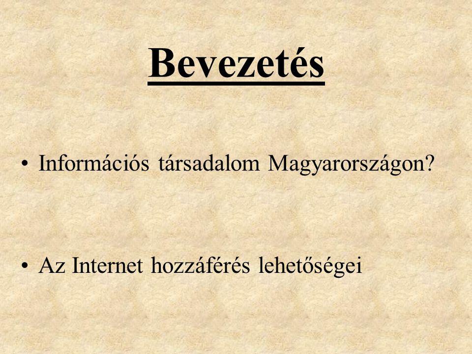 Bevezetés Információs társadalom Magyarországon Az Internet hozzáférés lehetőségei