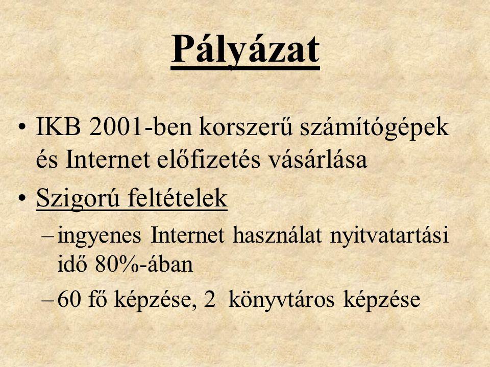 Pályázat IKB 2001-ben korszerű számítógépek és Internet előfizetés vásárlása Szigorú feltételek –ingyenes Internet használat nyitvatartási idő 80%-ában –60 fő képzése, 2 könyvtáros képzése