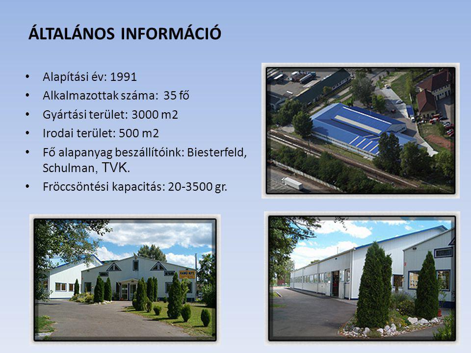 ÁLTALÁNOS INFORMÁCIÓ Alapítási év: 1991 Alkalmazottak száma: 35 fő Gyártási terület: 3000 m2 Irodai terület: 500 m2 Fő alapanyag beszállítóink: Bieste