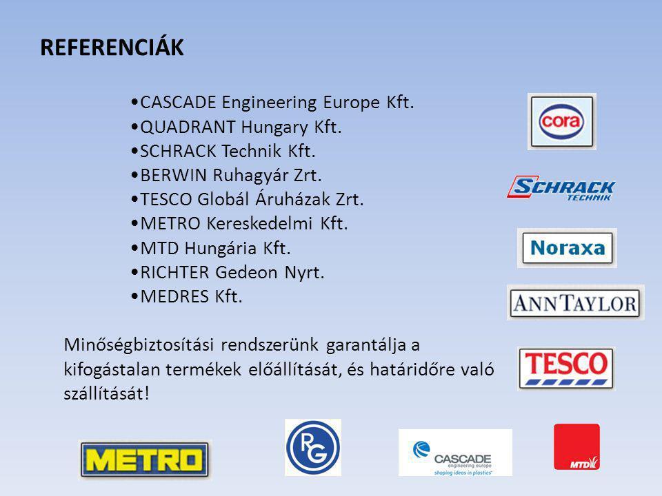 REFERENCIÁK CASCADE Engineering Europe Kft. QUADRANT Hungary Kft. SCHRACK Technik Kft. BERWIN Ruhagyár Zrt. TESCO Globál Áruházak Zrt. METRO Kereskede