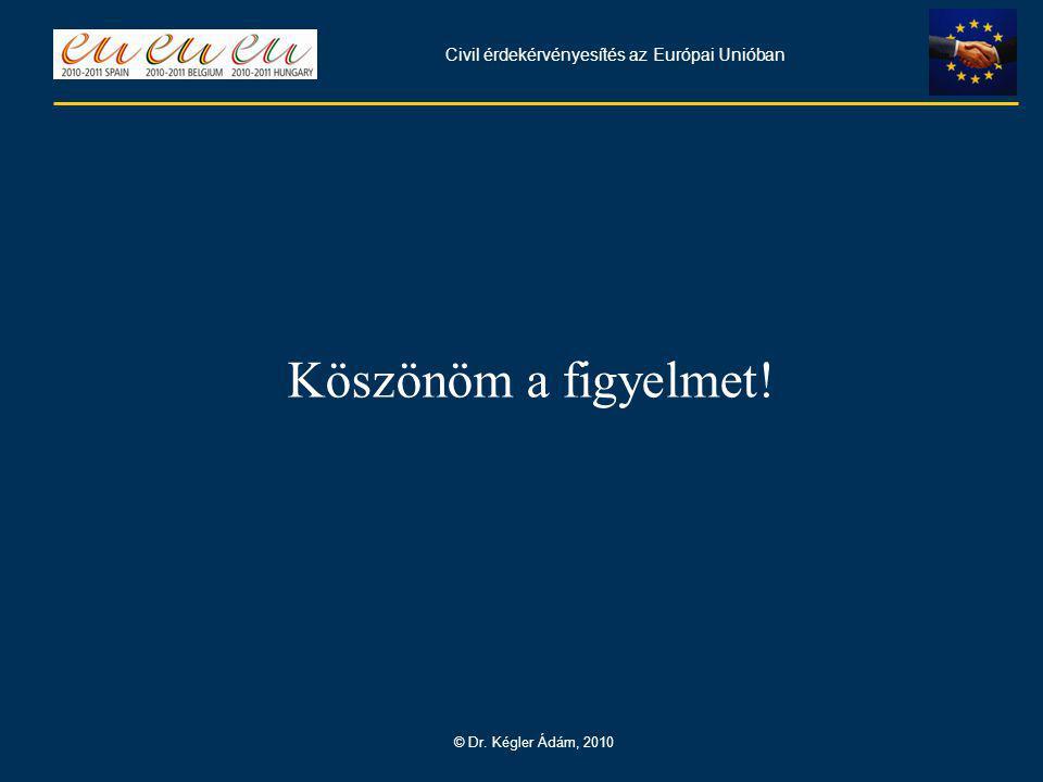 Civil érdekérvényesítés az Európai Unióban © Dr. Kégler Ádám, 2010 Köszönöm a figyelmet!