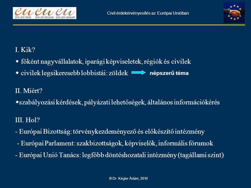 Civil érdekérvényesítés az Európai Unióban © Dr. Kégler Ádám, 2010 I.