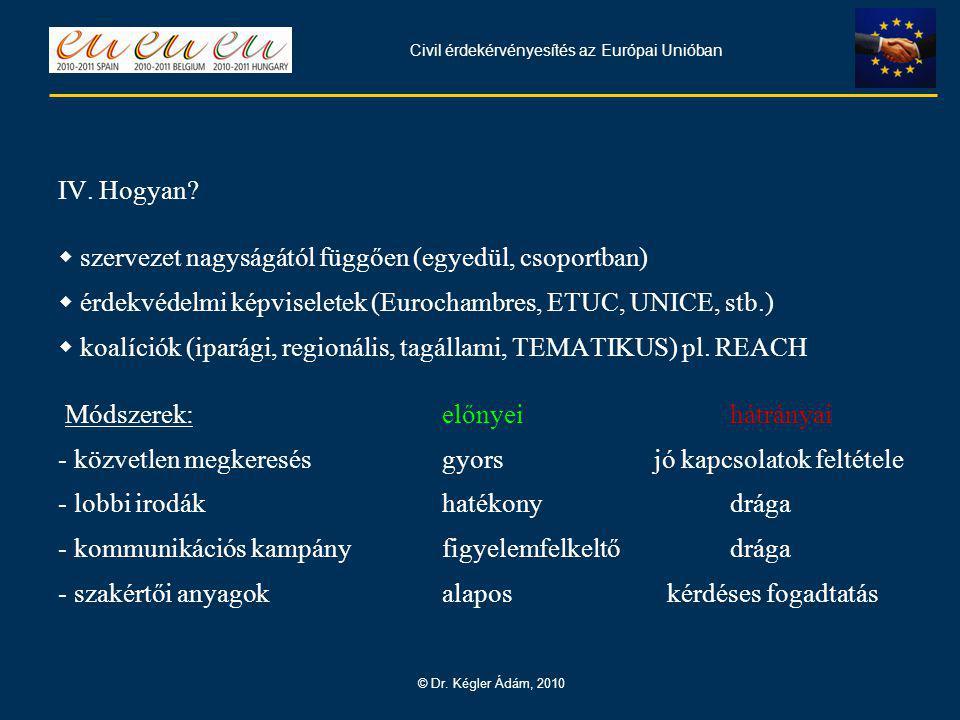 Civil érdekérvényesítés az Európai Unióban © Dr. Kégler Ádám, 2010 IV.