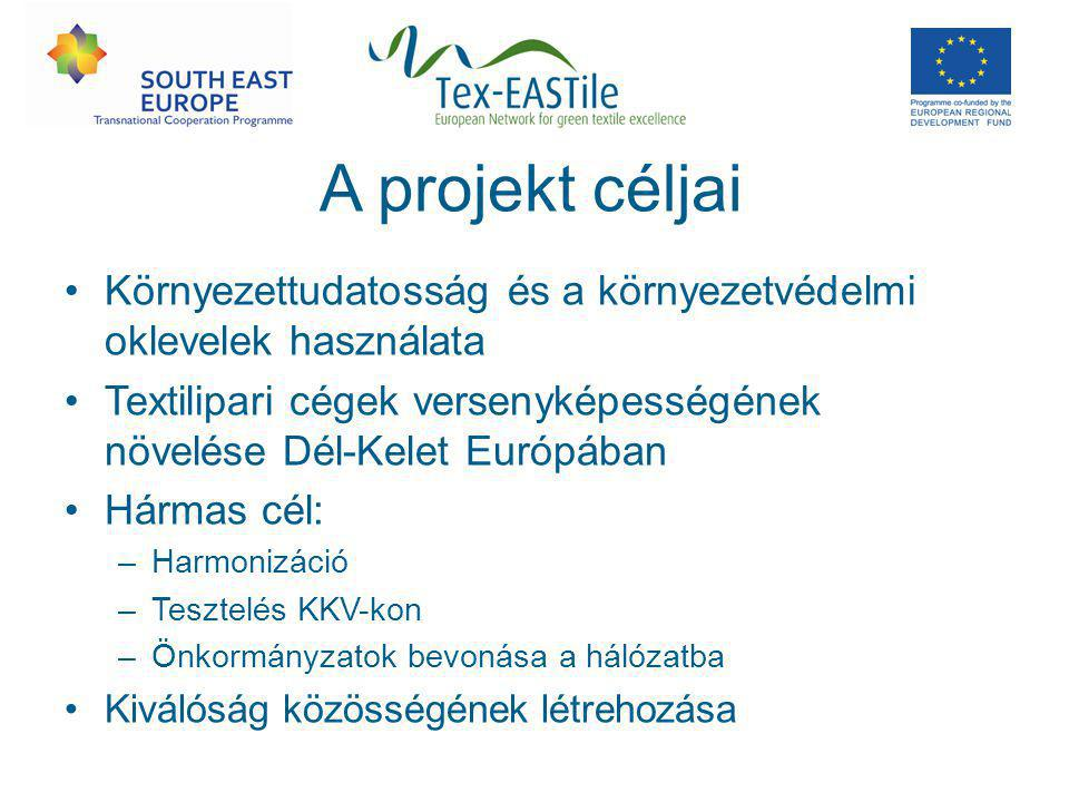 A projekt céljai Környezettudatosság és a környezetvédelmi oklevelek használata Textilipari cégek versenyképességének növelése Dél-Kelet Európában Hármas cél: –Harmonizáció –Tesztelés KKV-kon –Önkormányzatok bevonása a hálózatba Kiválóság közösségének létrehozása