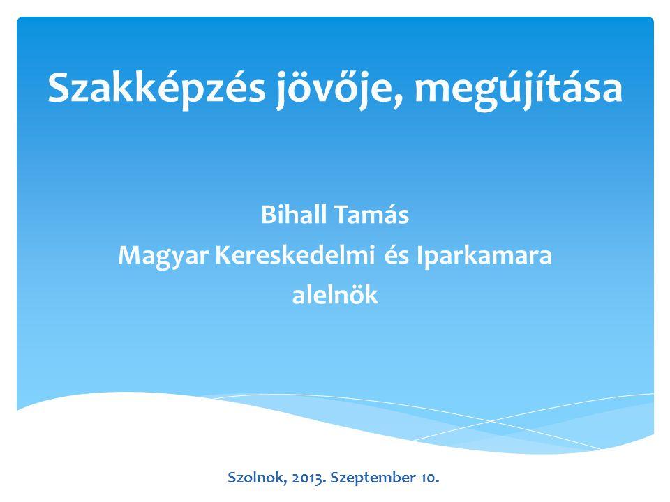 Szakképzés jövője, megújítása Bihall Tamás Magyar Kereskedelmi és Iparkamara alelnök Szolnok, 2013.