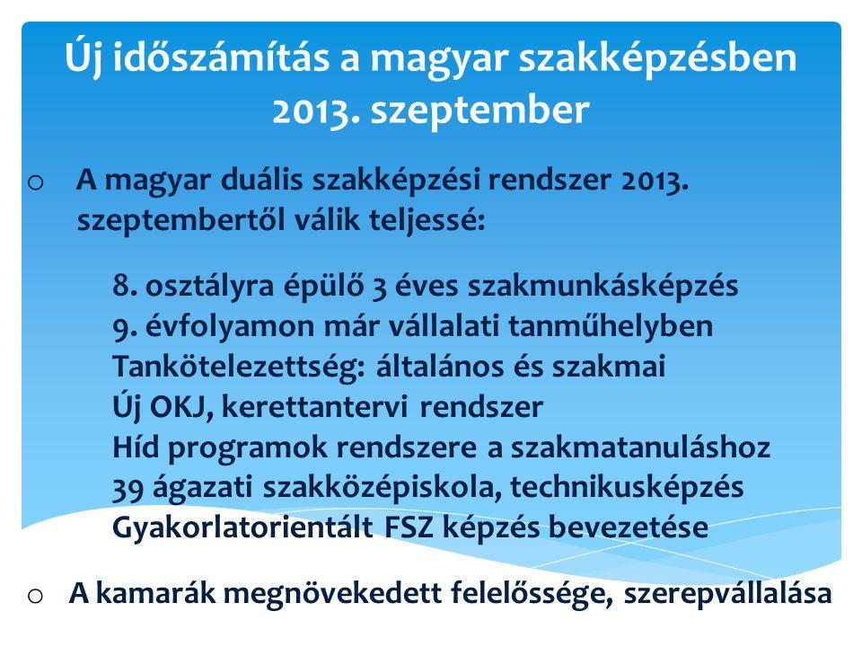Új időszámítás a magyar szakképzésben 2013. szeptember o A magyar duális szakképzési rendszer 2013. szeptembertől válik teljessé: 8. osztályra épülő 3