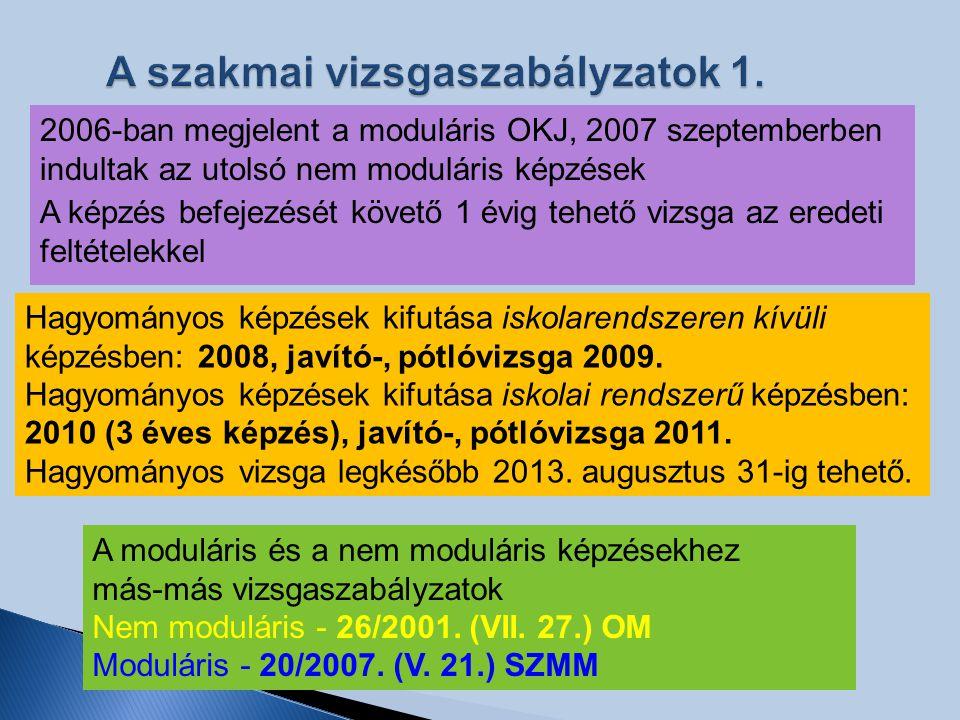 A szakmai vizsgaszabályzatok 1. 2006-ban megjelent a moduláris OKJ, 2007 szeptemberben indultak az utolsó nem moduláris képzések A képzés befejezését
