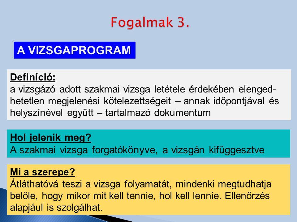 A VIZSGAPROGRAM Definíció: a vizsgázó adott szakmai vizsga letétele érdekében elenged- hetetlen megjelenési kötelezettségeit – annak időpontjával és helyszínével együtt – tartalmazó dokumentum Hol jelenik meg.