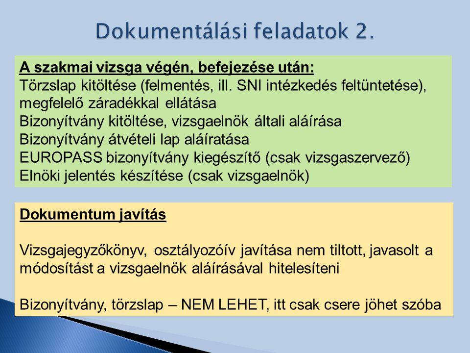 A szakmai vizsga végén, befejezése után: Törzslap kitöltése (felmentés, ill. SNI intézkedés feltüntetése), megfelelő záradékkal ellátása Bizonyítvány