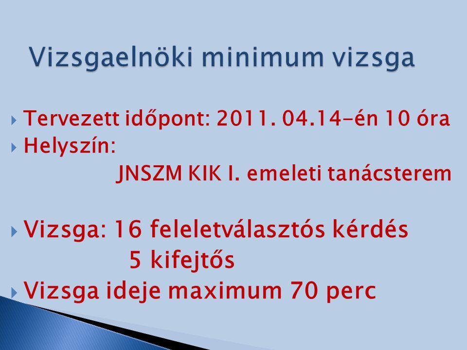  Tervezett időpont: 2011. 04.14-én 10 óra  Helyszín: JNSZM KIK I. emeleti tanácsterem  Vizsga: 16 feleletválasztós kérdés 5 kifejtős  Vizsga ideje
