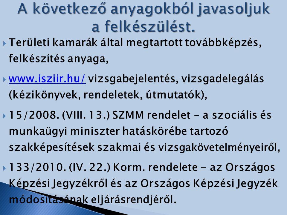  Területi kamarák által megtartott továbbképzés, felkészítés anyaga,  www.isziir.hu/ vizsgabejelentés, vizsgadelegálás (kézikönyvek, rendeletek, útm