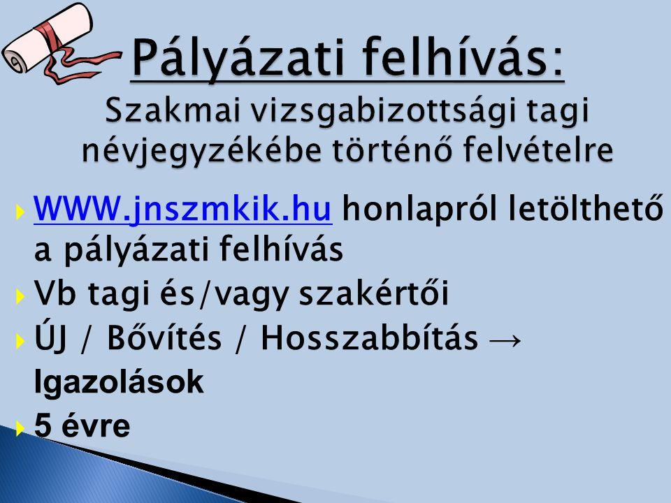  WWW.jnszmkik.hu honlapról letölthető a pályázati felhívás WWW.jnszmkik.hu  Vb tagi és/vagy szakértői  ÚJ / Bővítés / Hosszabbítás → Igazolások  5 évre