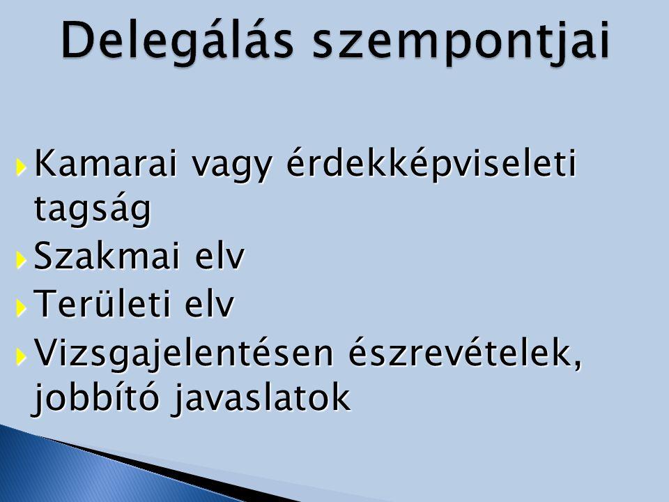  Kamarai vagy érdekképviseleti tagság  Szakmai elv  Területi elv  Vizsgajelentésen észrevételek, jobbító javaslatok