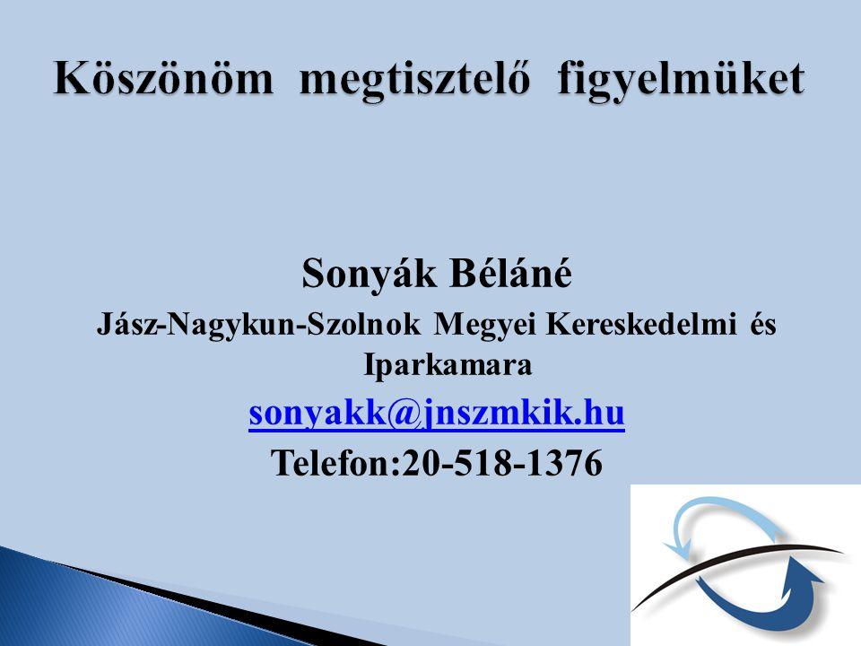 Sonyák Béláné Jász-Nagykun-Szolnok Megyei Kereskedelmi és Iparkamara sonyakk@jnszmkik.hu Telefon:20-518-1376