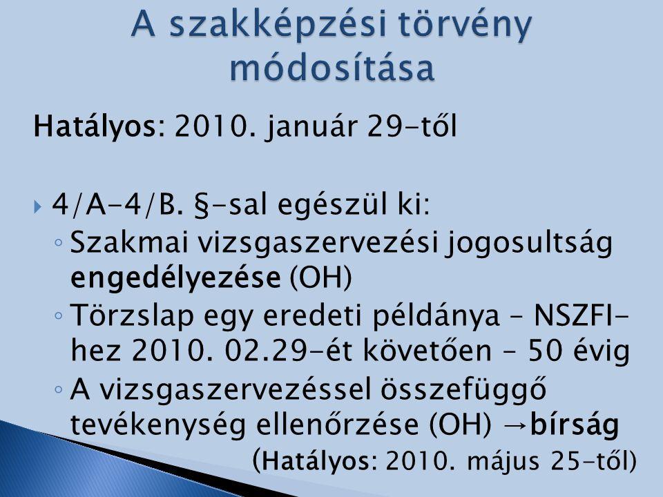 Hatályos: 2010. január 29-től  4/A-4/B. §-sal egészül ki: ◦ Szakmai vizsgaszervezési jogosultság engedélyezése (OH) ◦ Törzslap egy eredeti példánya –