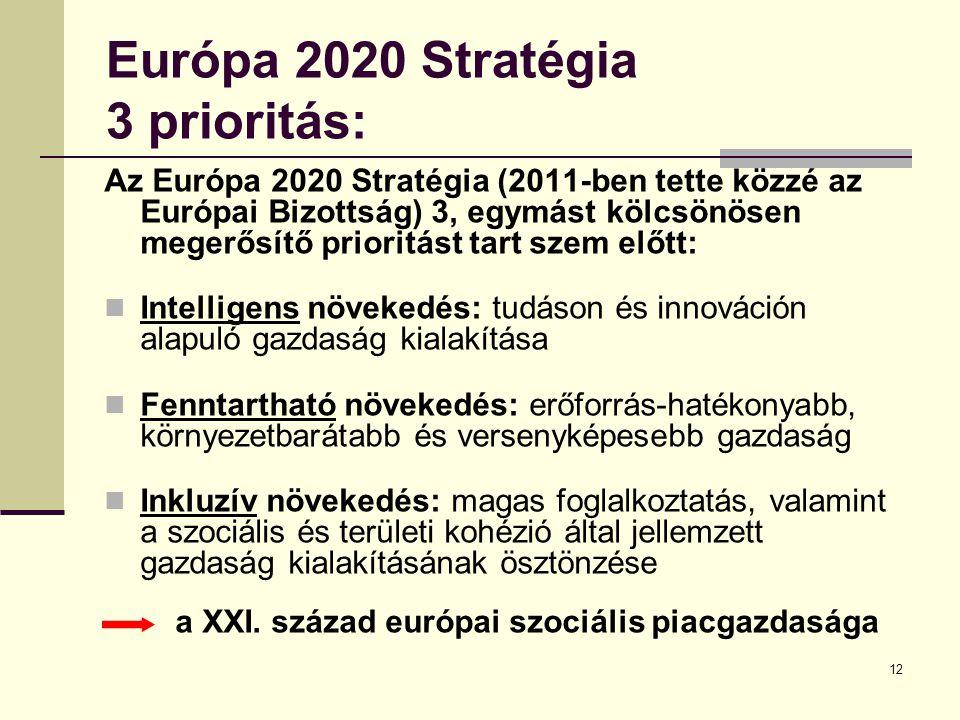12 Európa 2020 Stratégia 3 prioritás: Az Európa 2020 Stratégia (2011-ben tette közzé az Európai Bizottság) 3, egymást kölcsönösen megerősítő prioritást tart szem előtt: Intelligens növekedés: tudáson és innováción alapuló gazdaság kialakítása Fenntartható növekedés: erőforrás-hatékonyabb, környezetbarátabb és versenyképesebb gazdaság Inkluzív növekedés: magas foglalkoztatás, valamint a szociális és területi kohézió által jellemzett gazdaság kialakításának ösztönzése a XXI.