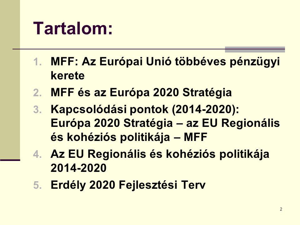 2 Tartalom: 1. MFF: Az Európai Unió többéves pénzügyi kerete 2.