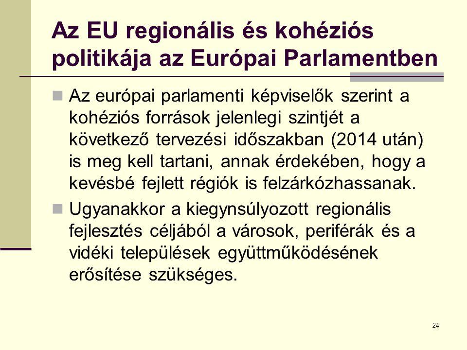 24 Az EU regionális és kohéziós politikája az Európai Parlamentben Az európai parlamenti képviselők szerint a kohéziós források jelenlegi szintjét a következő tervezési időszakban (2014 után) is meg kell tartani, annak érdekében, hogy a kevésbé fejlett régiók is felzárkózhassanak.