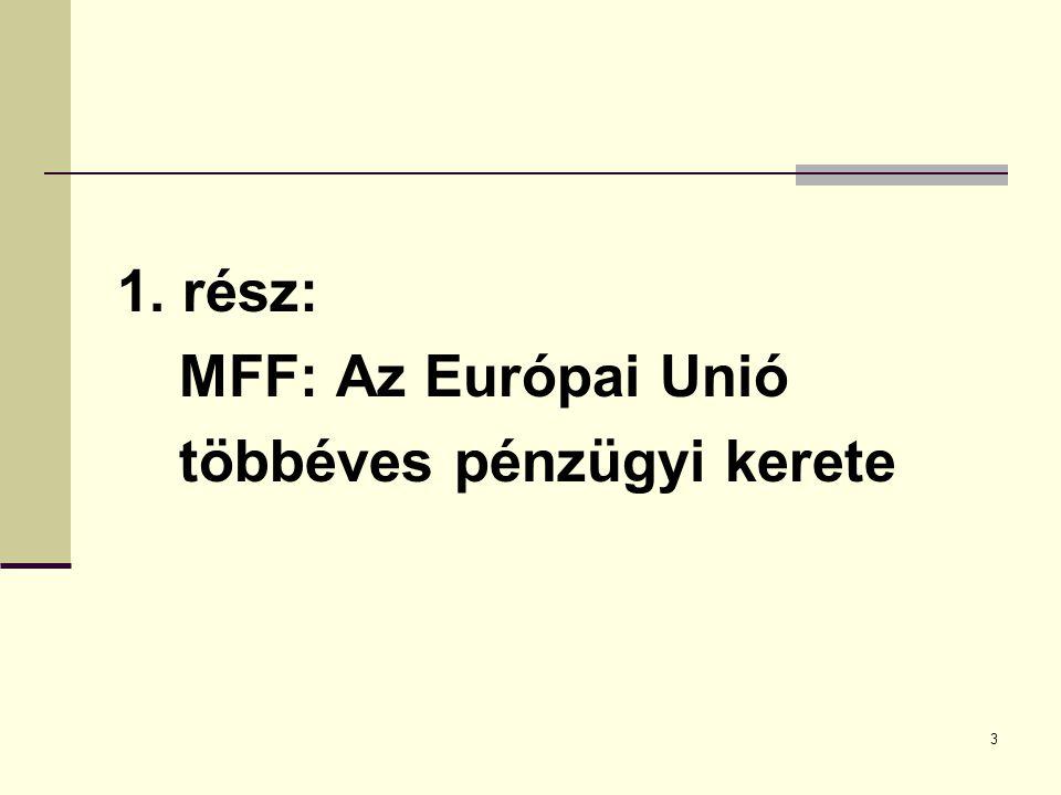3 1. rész: MFF: Az Európai Unió többéves pénzügyi kerete