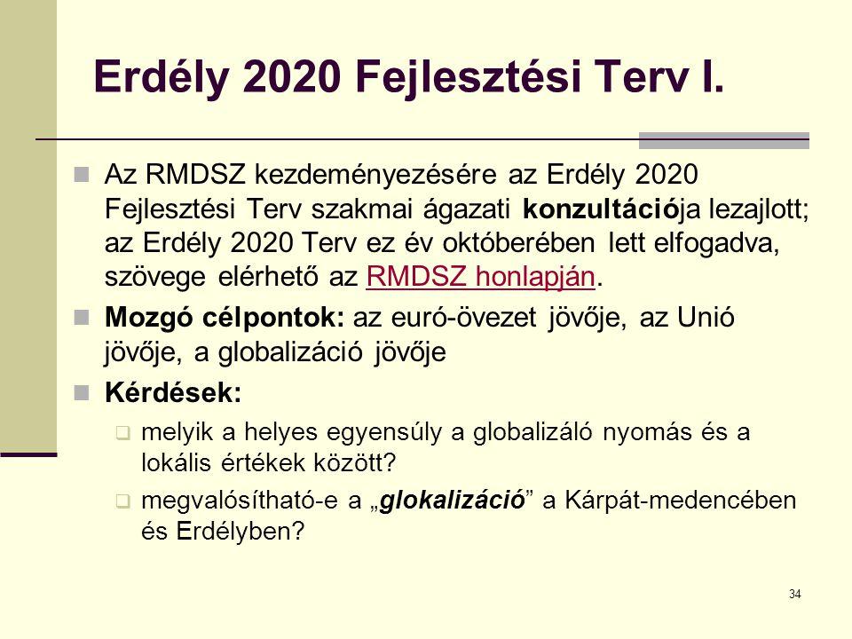 34 Erdély 2020 Fejlesztési Terv I.