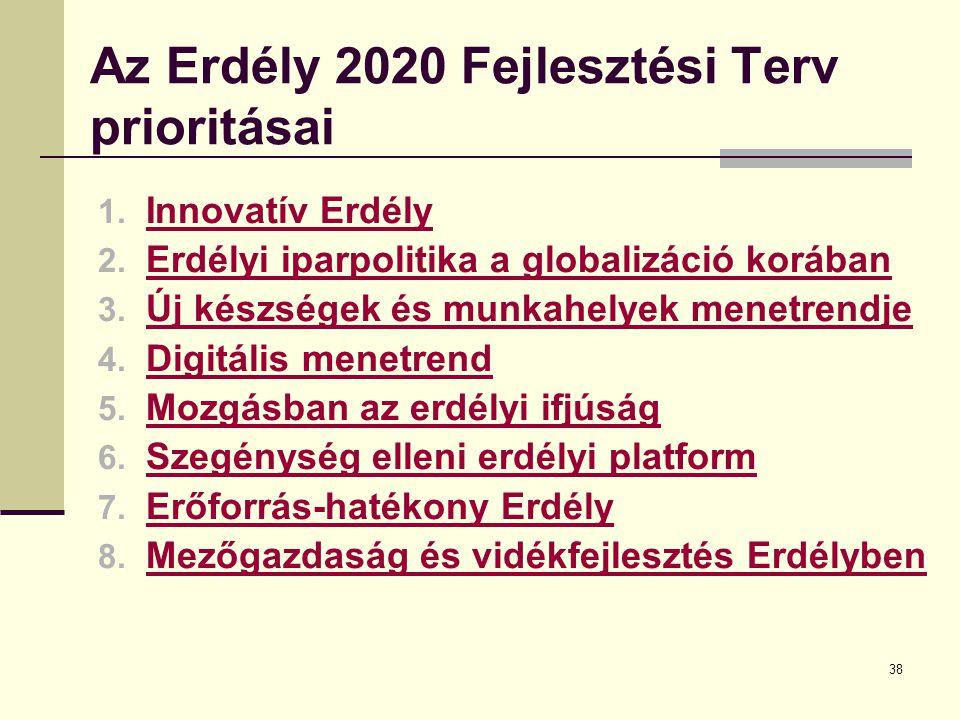 38 Az Erdély 2020 Fejlesztési Terv prioritásai 1. Innovatív Erdély Innovatív Erdély 2.