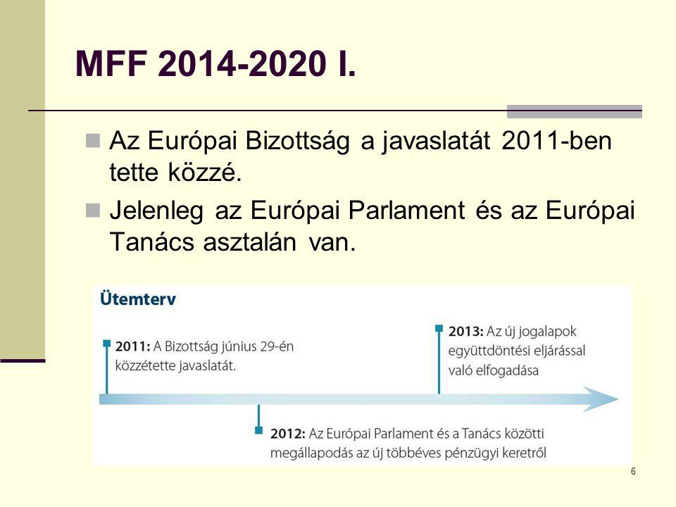 6 MFF 2014-2020 I. Az Európai Bizottság a javaslatát 2011-ben tette közzé.