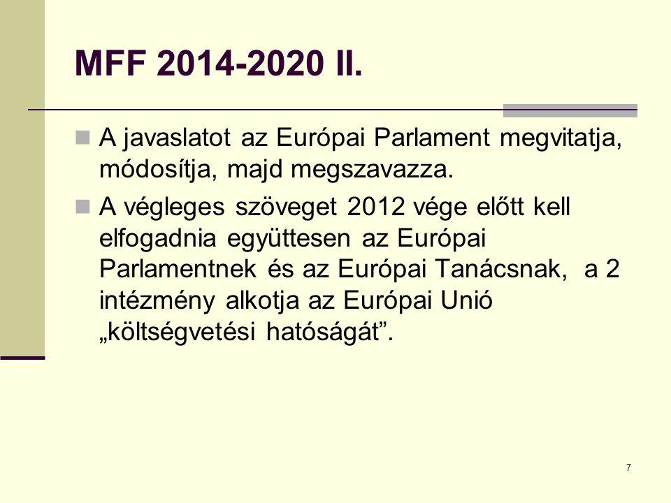 7 MFF 2014-2020 II. A javaslatot az Európai Parlament megvitatja, módosítja, majd megszavazza.