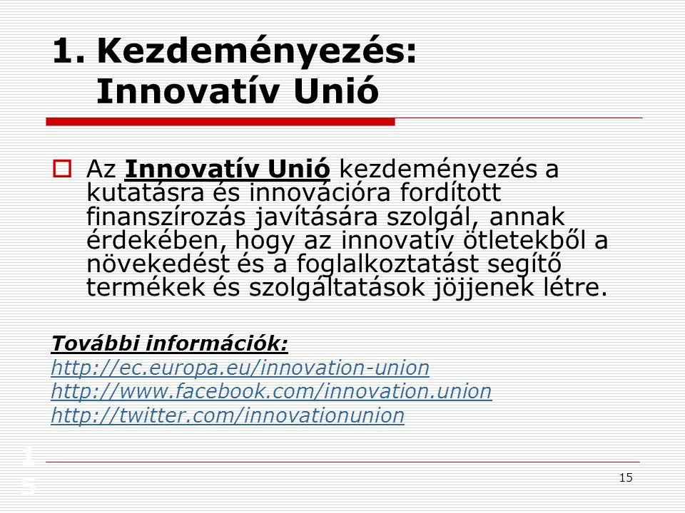 15 15 1.Kezdeményezés: Innovatív Unió  Az Innovatív Unió kezdeményezés a kutatásra és innovációra fordított finanszírozás javítására szolgál, annak érdekében, hogy az innovatív ötletekből a növekedést és a foglalkoztatást segítő termékek és szolgáltatások jöjjenek létre.
