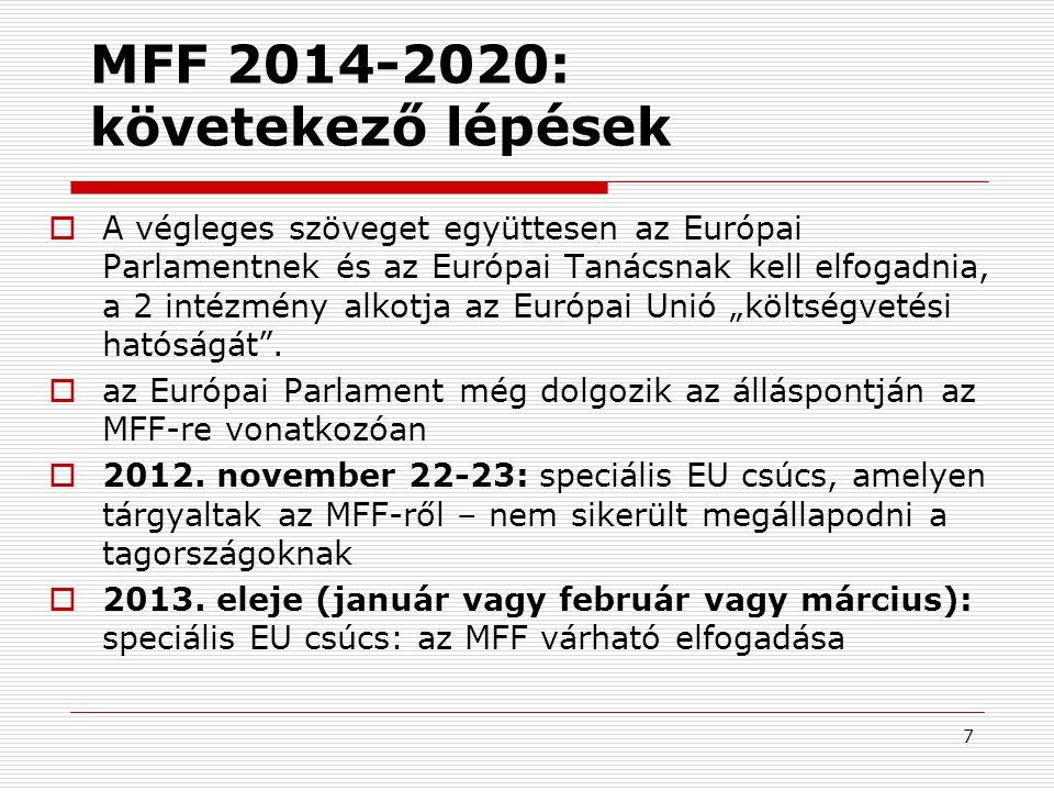 """7 MFF 2014-2020: követekező lépések  A végleges szöveget együttesen az Európai Parlamentnek és az Európai Tanácsnak kell elfogadnia, a 2 intézmény alkotja az Európai Unió """"költségvetési hatóságát ."""