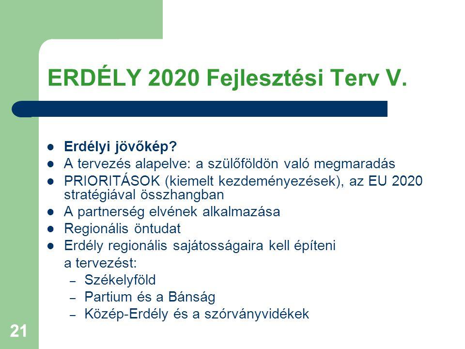 21 ERDÉLY 2020 Fejlesztési Terv V. Erdélyi jövőkép.